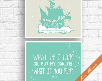 What if I Fall, What if you Fly And Second Star to Right - Set of 2 Art Prints (Unframed) (Featured in Sea foam on Fog) Peter Pan Prints