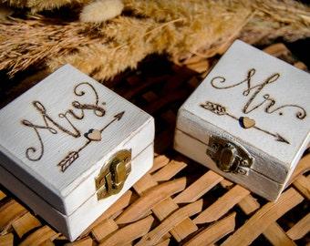 Mr & Mrs Rustic Wedding Ring Box Set Ring Bearer White Vintage Boxes Ring Pillow His Hers Engraved Bohemian Boho Beach Wedding Set of 2