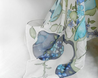 Blue and green silk scarf. Hand painted flower silk scarf. Made to order!