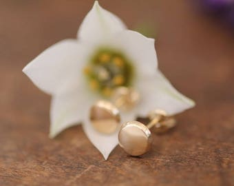 Berry Gold Button Earrings