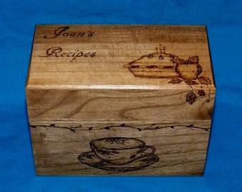 Personalized Recipe Box Custom Wood Burned Recipe Box Wedding Recipe Box Engraved Recipe Box Bridal Shower Gift