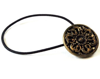 Metal Ponytail Holder with Twinkle Back Vintage Button, Brass Flourishes and Dainty Flower, Decorative Elastic Hair Tie for Casual Everyday