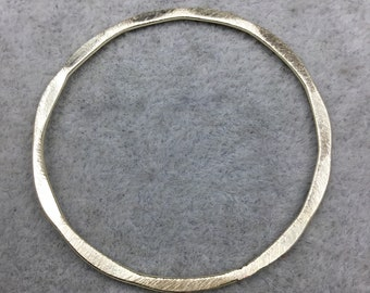 40mm Gold Brushed Finish Open Hammered Circle/Ring/Hoop Shaped Plated Copper Components - Sold in Packs of 10 Pieces - (486-GD)