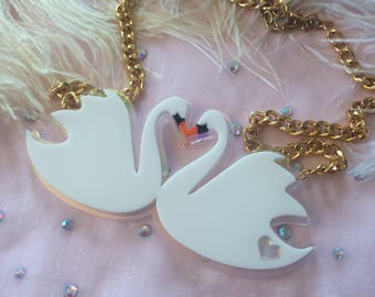 Swans in Love White and Radiant Necklace, Laser Cut Acrylic, Plastic Jewelry