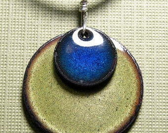 Enamel Necklace, Blue and Green Necklace, Copper Enamel Pendant, Blue Necklace, Green Necklace, Handmade Necklace
