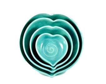 Ramekin Nesting Bowl Set Ceramic Wedding Gift Heart Bowls  Stacking Dishes 9th anniversary gift ceramics and pottery bowls kitchen decor
