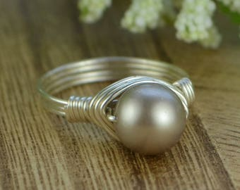 Sale! Pearl Ring-Platinum Swarovski Crystal Pearl/Sterling Silver, Yellow or Rose Gold Filled Wire Wrapped- Size 4 5 6 7 8 9 10 11 12 13 14