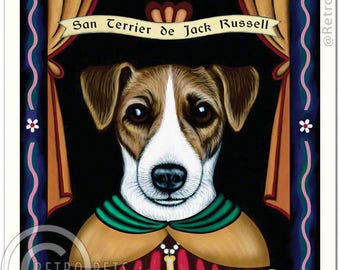 11x14 Jack Russell Art - Patron Saint of Hall Monitors -  Art print by Krista Brooks