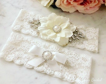 Ivory Flower Wedding Garter - Lace Garter Set - Rhinestone Garter - Pearl Garter - Toss Garter - Bridal Garter - Wedding Garter Belt