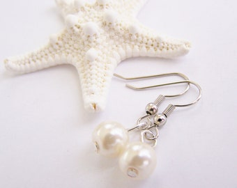 SALE - Ivory Classic Glass Pearl Earrings - Matching necklace also available - Petite - small - weddings - formal - bridesmaids