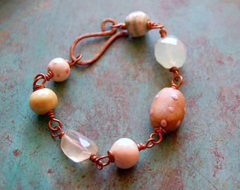 Perle en céramique face Double, rose et vert et Bracelet en cuivre