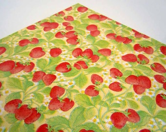 Vintage 1970's Summer Gift Wrap Red Strawberries Strawberry Wrapping Paper
