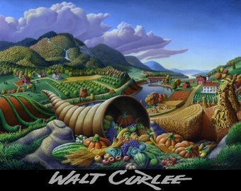 Horn Of Plenty, cornucopia, original oil painting, Farm landscape Painting, folk art, folkart, Thanksgiving, Americana, Fall, Walt Curlee