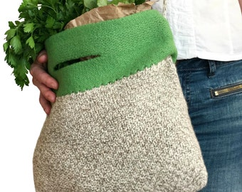 Felt Market Bag Alice Knitted Felted Wool Purse Spring Summer Fashion Accessory Green Natural Cross Body Strap Hand Knit