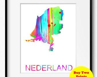 Nederland Watercolor Map Art Print (532) Europe Holland