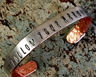 Follow Your Arrow Bracelet, Boho Gypsy Jewelry by Kyleemae Designs, Silver Bracelet, Inspiring Jewelry,  Cuff Bracelet