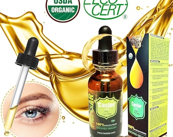 Organic Castor Oil - 100%  Pure USDA Certified organic Cold Pressed - Boost Growth For Eyelashes, Hair, Eyebrows, Face and Skin- 1 oz 30ml