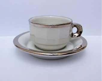 Pillivuyt - cappuccino cup with saucer - white and silver