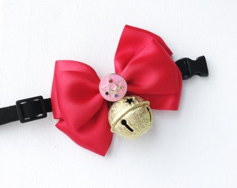 Limited Edition House of Cats Handmade Sailor Moon Pet Bow Collar with Gold Stars Bell / gift for cats / for pets / Luna & Artemis
