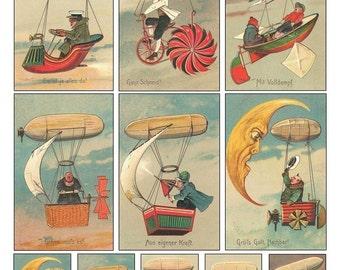 Dirigeables inhabituelle Collage feuille - humoristique Vintage cartes allemandes - téléchargement numérique - imprimable
