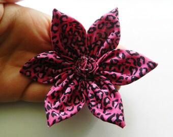 Pink Leopard Cheetah Print Fabric Flower Hair Pin Clip