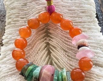 Mandarine Chalcedon Armband | Chrysopras | Rosenquarz | Stacheligen Austernschale | Rhodonit | Edelstein-Armband