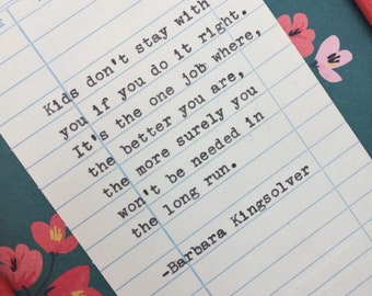 Barbara Kingsolver Quote- Parents and Children Quote- typed quote on library due date card - Mother's Day