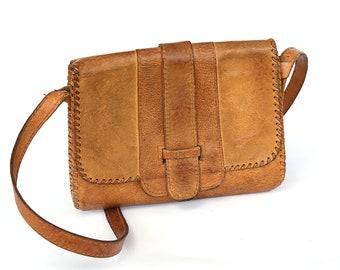 80s Messenger Brown Leather Bag, Tooled Brown Leather Handbag, Crossbody Bag, Adjustable Shoulder Strap Military Bag, School Bag