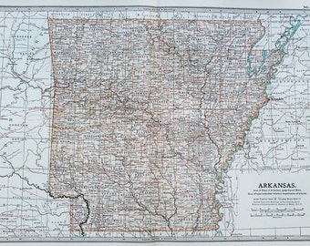 Antique Map : Arkansas, USA, US State Map. Encyclopedia Britannica, 1890s (86)