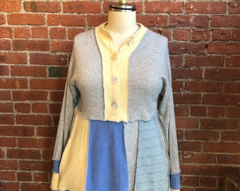All cashmere pullover spring sweater- pastel- gray- blue yello- extra large- women's upcycled clothing- soft- empire waist- patchwork
