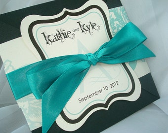 ALMOST AQUA Peony Hand Cut Vintage Frame Wedding Invitation Sample