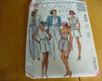 Vintage 1980s McCalls Pattern 4310, Misses Unlined Jacket, Wrap-Top Bra, Pants & Shorts, Size Small, UNCUT