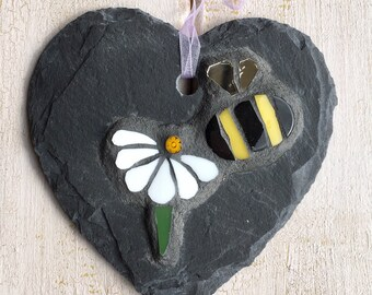 Unusual Gift ~ Decorative Flower and Bee Mosaic ~ Broken China Mosaic ~ Gift for Gardener ~ Eco friendly ~ Under 25