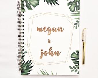 Livre de planificateur de mariage personnalisé, carnet de RDV, livre de planification de mariage, liant de mariage, liste de mariage, cadeau de fiançailles pour elle, feuille de palmier