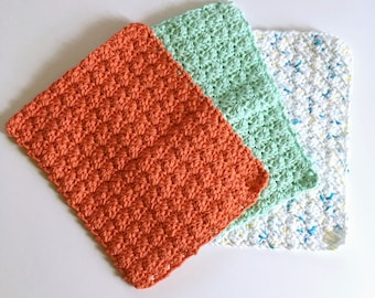 Springtime dishcloths, dishcloths, 100% cotton dishcloths, set of 3 dishcloths