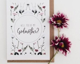 Will You Be My Godmother Card || Floral Scatter Godparents Card, Will You Be My Godfather, Christening Card