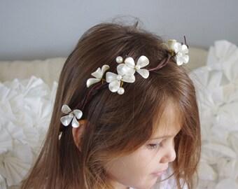 Twine and Pearl Flowers Wedding Bridal Hair Wreath - Rustic or Shabby Chic Bride Hair Flowers