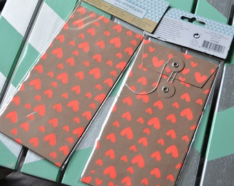 1 neon pink hearts kraft envelopes