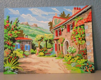Vintage paint by number, Mid-Century painting, Gardens, Village, Mountains, Clouds, Wall decor, Retro paint by number