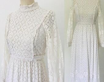 Vintage 70's Lanz Original Lace Maxi Dress l M