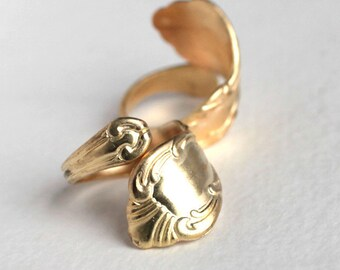 Large Brass Spoon Handle Ring - Adjustable (1X)(J609)