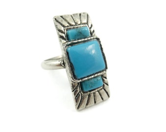 Vintage, Faux Turquoise, Ring, Silver Tone, Adjustable