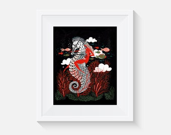 Undersea Red Goddess Art Print