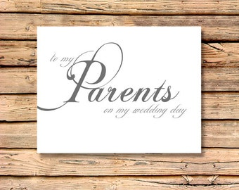 To My Parents on My Wedding Day - Wedding Day Sentiments Card / Brides Wedding Note Card, Grooms Wedding Note Card, Bridal Wedding Card