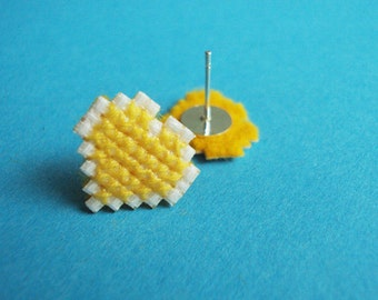 Cross-Stitched Heart Earrings - Yellow