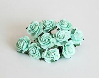 10 pcs - Mint color mulberry paper 2 cm roses