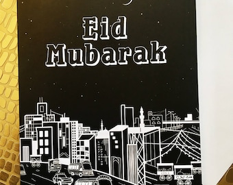 Eid Mubarak Greeting Card, Eid Card, Money holder, Eidi Card, Eidi Holder, Muslim Greeting Card, Modern Eid, Set of 5 w/envelopes