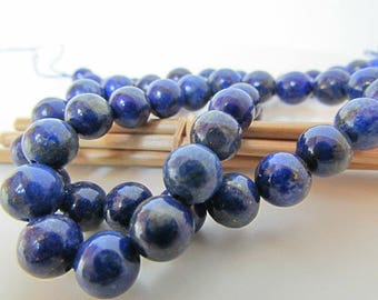 Pearl lapis lazuli bead non-tinted Pearl gemstones, 8, 6, 4 mm - hole 1 mm - 647