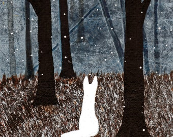 White German Shepherd Dog folk art PRINT Todd Young painting First Snow