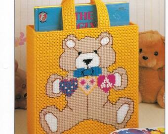 Bear Tote Bag Plastic Canvas Pattern, Child's Bag, Teddy Bear, Baby Tote, Baby Shower Gift, Annie's